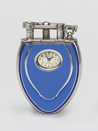 Dunhill с голубой эмалью и часами, 1920-е